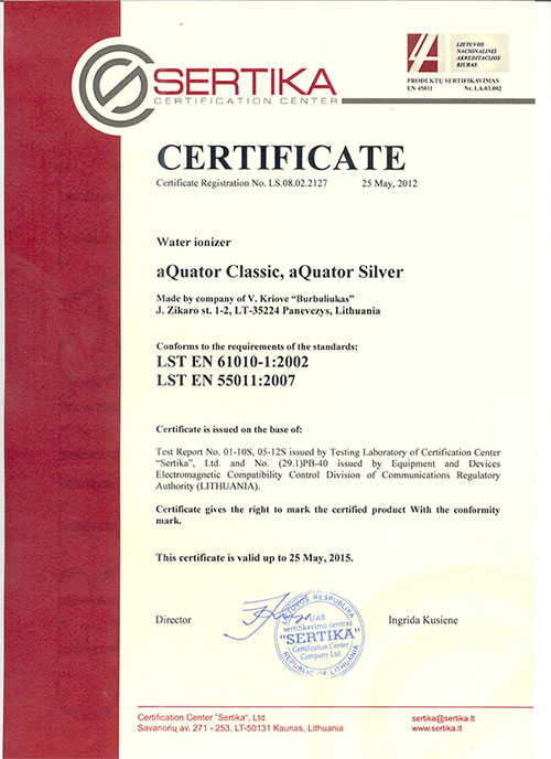 Aquator Silver - certyfikat