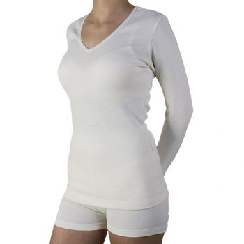 Bursztynowa koszulka damska wełniana, przeciwreumatyczna PT 0528